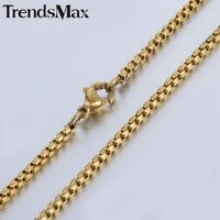 Mens Stainless Steel 2mm Gold Plated Round Box Link Chain Necklace
