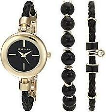 Anne Klein Women AK/2766 ONYX Gold-Tone and Black Leather Watch and Bracelet Set