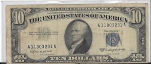 1953 B $10 SILVER CERTIFICATE