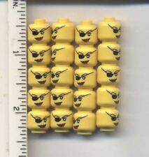 LEGO x 20 Yellow Minifig, Head Female with Eyepatch and Large Red Lips Pirate