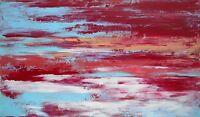 """PAYSAGE, tableau abstrait original signé HZEN, peinture """"LA BAIE, LE SOIR"""" 27x46"""