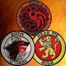 GAME OF THRONES PATCH SET~ HOUSE STARK, TARGARYEN & LANNISTER ~WINTER/FIRE/ROAR