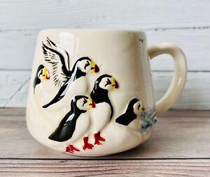 Alaska Pottery 3D Hand Painted Wildlife Puffins Coffee Tea Cup Mug ~ Birds Ocean