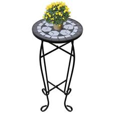 Small Garden Side Table Patio Outdoor Outside Round Metal Coffee Table Black