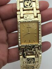 "Men's Seiko 14K Yellow Gold  7.5"" Gold Watch Link Horse Shoe Black Onyx Bracelet"
