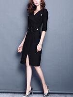 Elegant Women's Slim Business Office Dress OL Work Casual Waist Belt Dresses New