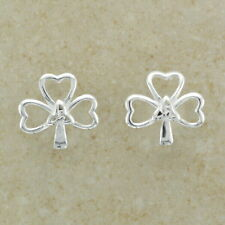 Sterling Silver Shamrock Stud Earring With Trinity Symbol