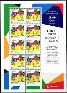 2021 Australia Tokyo Olympic Gold Medal Swimming Women's 100m Sheetlet Of 10 MNH
