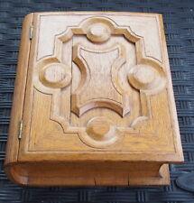 Carved Hand Crafted OAK ALL Wood Bible Shaped Box Jewelry Keepsake OOAK