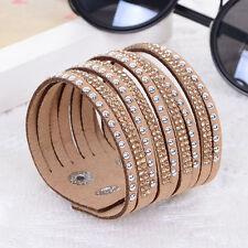 NEW Fashion Leather Wrap Wristband Cuff Punk Crystal Rhinestone Bracelet Apricot