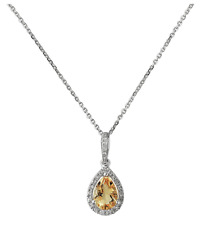 9 Carat 9ct White Gold Teardrop Lemon Quartz and Diamond Pendant Necklace