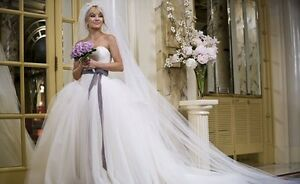 $1300 NEW Iconic GARLAND Vera Wang Purple Lilac SASH Wedding Bridal Dress Belt