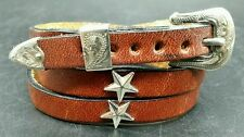 Brown HATBAND Leather with SILVER STAR CONCHOS and Buckle Set Cowboy Hat Band
