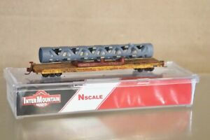 INTERMOUNTAIN 66404-08 N WEATHERED UNION PACIFIC FLAT CAR 52516 with LOAD nv