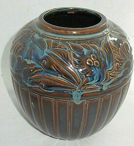 Vintage Art Nouveau Blue Brown Embossed Majolica Flower Pottery Pot Vase Japan