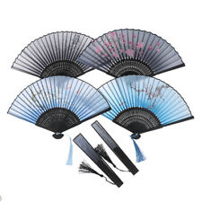 Japanese Chinese Folding Silk Hand Held Fan Plum Blossom Bamboo Pocket Fan Po_es