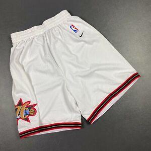 100% Authentic Sixers Vintage Nike Home White Shorts Size M - allen iverson