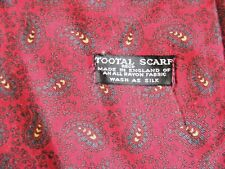 Vintage 1950s rayon Tootal Scarf black label dark red  paisley swirl blue yellow