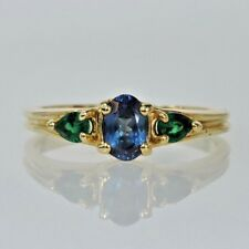 Ladies 14k Yellow Gold Genuine Alexandrite & Emerald Three Stone Estate Ring