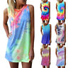 Womens Boho Sleeveless Ladies Summer Beach Loose Midi Mini Dress Long Tops Ceng