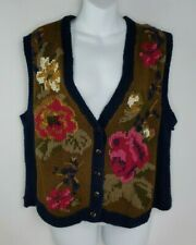 Vintage American Eagle Outfitters For Her Floral Sweater Vest Cardigan Sz S