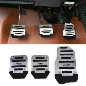 3pcs Silver Sports Non-Slip Manual Car Accessories Gas Brake Pedals Pad Cover