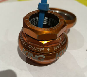 "Chris King 1"" Threaded GripNut headset Orange Mango  BMX MTB Rare Logo Grip Nut"