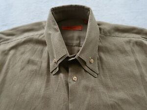 Equilibrio Italia Mens Cotton LS Button Down Beige Dotted Dress Shirt Large