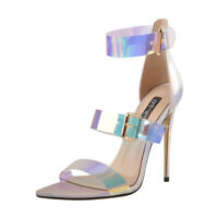 Onlymaker Women Pointy Open Toe Holographic Ankle Strap Stilettos Sandals US5-15