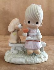 loving is sharing child and dog Precious Moments figurine boy 1979 ice cream