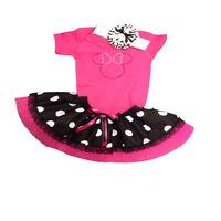 Sparkle Pink Minnie Mouse Baby Grow Tutu Skirt Set Girls Fancy Dress Costume