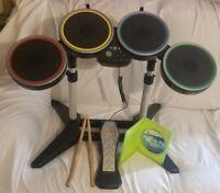 Harmonix Rockband Wireless Drum Set Xbox 360 With Pedal & Sticks + Rockband Game