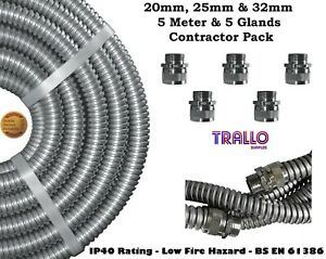 Quality Steel Galvanised Conduit (Metal) Pack - 5 Meters, 5 Glands & 5 Lock-Nuts