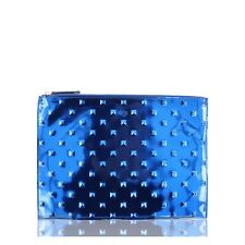 ELA STUDDED EDITOR'S POUCH MIRROR BLUE CLUTCH NEW WITH TAGS