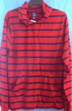 CAMBRIDGE MENS Shirt Red w/Navy Stripes HOOD Long Sleeves Front Pockets PullOn