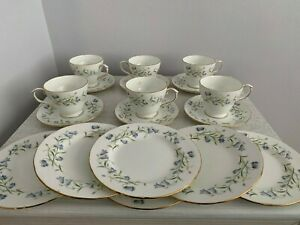 Duchess Bone China Harebell  18 Piece Set Cups Saucers Plates