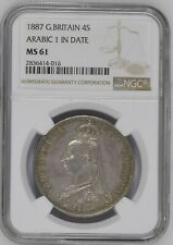 1887 Great Britain Double Florin Arabic 1 NGC MS61 high value Cert# 2836414-016