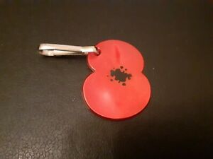 A TWO PETAL POPPY UNIQUE Pet Dog Collar Reflector Tag or Keyring. New to Wear.