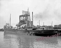 Photograph 1901 Ellsworth Coal Loader & Steamship Volunteer of Fairpoint 8x10