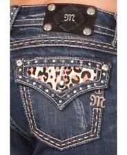 MISS ME Leopard Cheetah Animal Print Suede Stud Rhinestone Pockets Boot Jeans 29