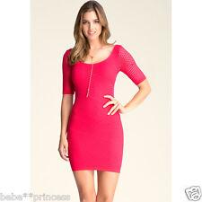 NWT bebe XXS XS S  bright pink stretch slash nude overlay lace top dress bodycon
