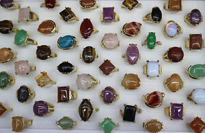 60pcs Women Lady's Jewelry Wholesale Mixed Lots  Ring Natural Stone Rings EH478