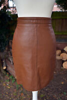 Vintage Tight Fitting Wiggle GAP Brown Soft Leather High Waist Mini Skirt SMALL