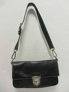 PRADA black leather & microfiber flap mini shoulder bag/ clutch