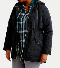 ee13af148ba97 HARVE BENARD QUILTED ANORAK COAT JACKET w  HOOD BLACK WOMENS PLUS SIZE 1X