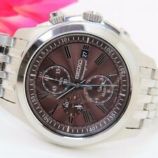 Seiko SNAE51 Men's Stainless Steel Brown Roman Dial Chronograph Alarm Watch