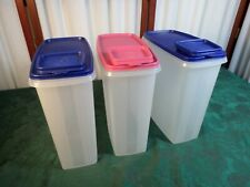 3-5QT Tupperware Clear Storage Containers w/Colored Lids