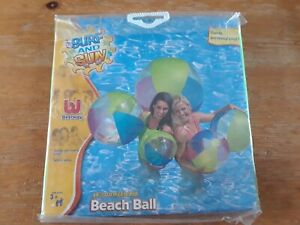 "Vintage Inflatable 48"" Beach Ball - Surf and Sun Bestway frosted segment design"