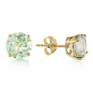 3.1 Ct 14k Solid Yellow Gold Stud Earrings Natural Green Amethyst