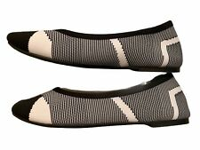 Skechers Women's Wide Fit Ballet Kicks Flats Shoes Black White Size 7.5 New